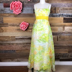 Dresses & Skirts - Vintage 1960s yellow wildflower gown